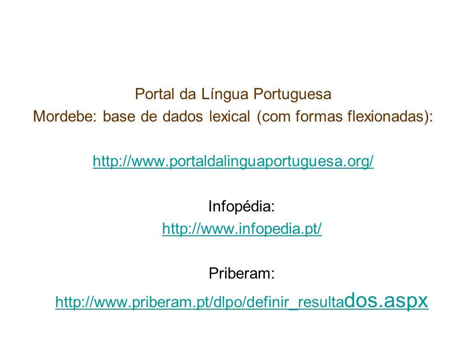 Portal da Língua Portuguesa Mordebe: base de dados lexical (com formas flexionadas): http://www.portaldalinguaportuguesa.org/ Infopédia: http://www.in