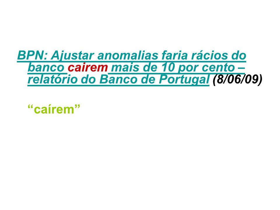 BPN: Ajustar anomalias faria rácios do banco BPN: Ajustar anomalias faria rácios do banco cairem mais de 10 por cento – relatório do Banco de Portugal