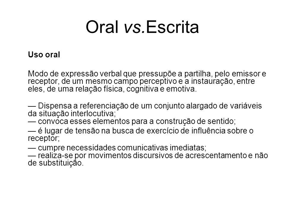 Oral vs.Escrita Uso oral Modo de expressão verbal que pressupõe a partilha, pelo emissor e receptor, de um mesmo campo perceptivo e a instauração, ent