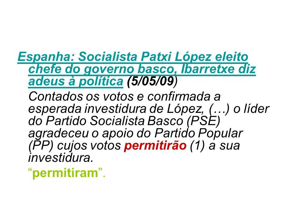Espanha: Socialista Patxi López eleito chefe do governo basco, Ibarretxe diz adeus à políticaEspanha: Socialista Patxi López eleito chefe do governo b
