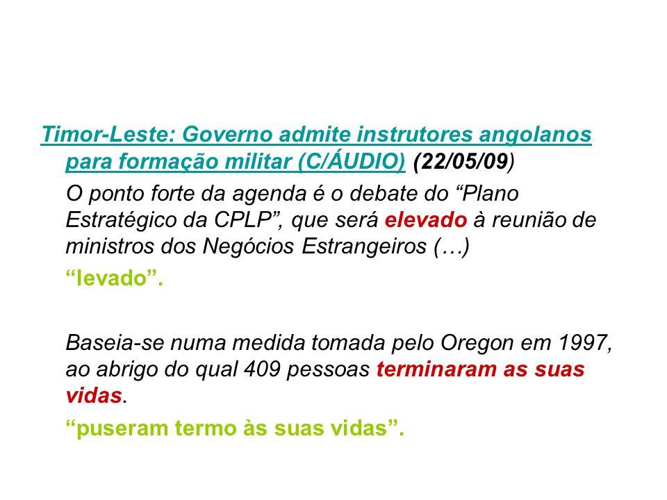 Timor-Leste: Governo admite instrutores angolanos para formação militar (C/ÁUDIO)Timor-Leste: Governo admite instrutores angolanos para formação milit