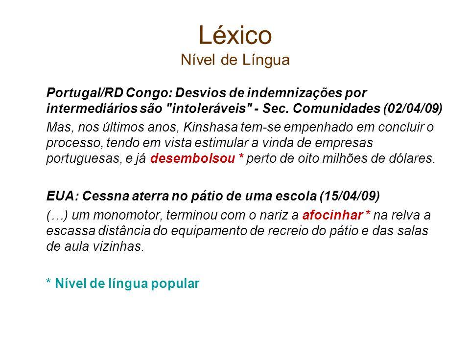 Léxico Nível de Língua Portugal/RD Congo: Desvios de indemnizações por intermediários são