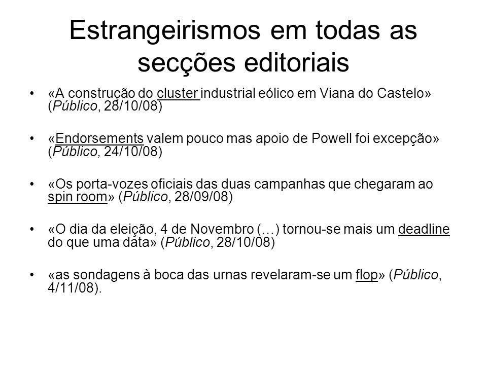 Estrangeirismos em todas as secções editoriais «A construção do cluster industrial eólico em Viana do Castelo» (Público, 28/10/08) «Endorsements valem