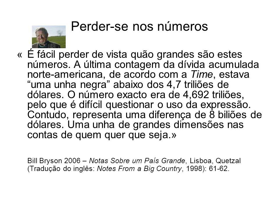 Perder-se nos números «É fácil perder de vista quão grandes são estes números. A última contagem da dívida acumulada norte-americana, de acordo com a