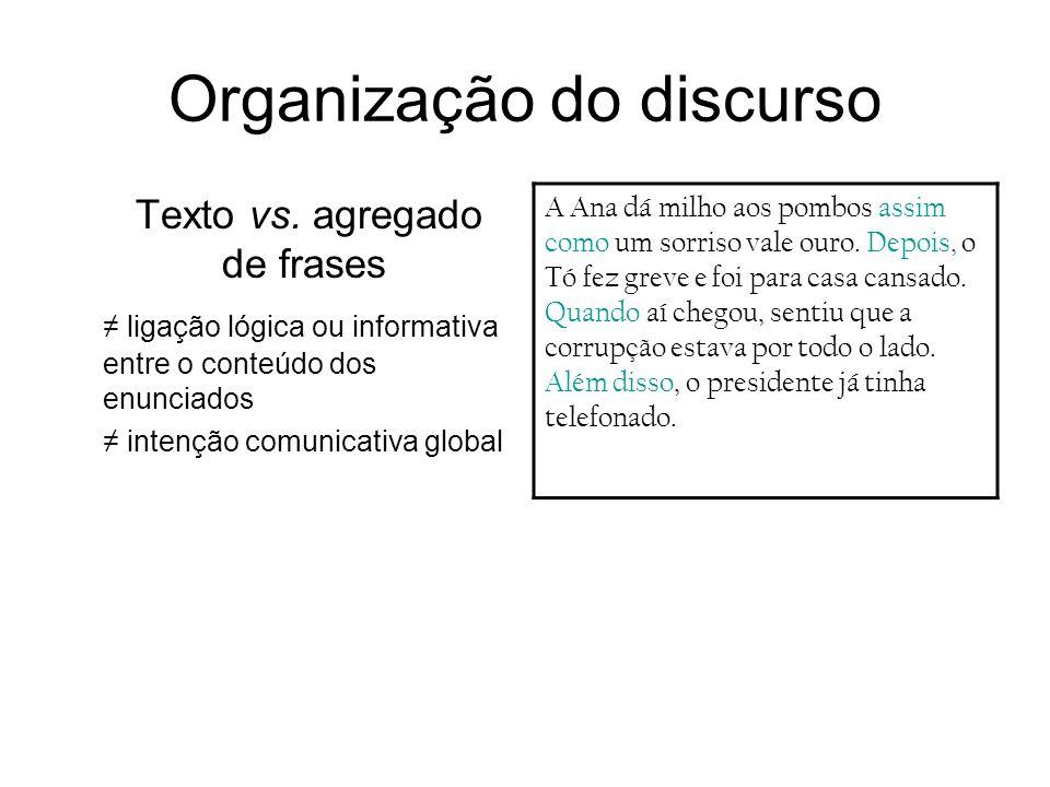 Organização do discurso Texto vs. agregado de frases ligação lógica ou informativa entre o conteúdo dos enunciados intenção comunicativa global A Ana