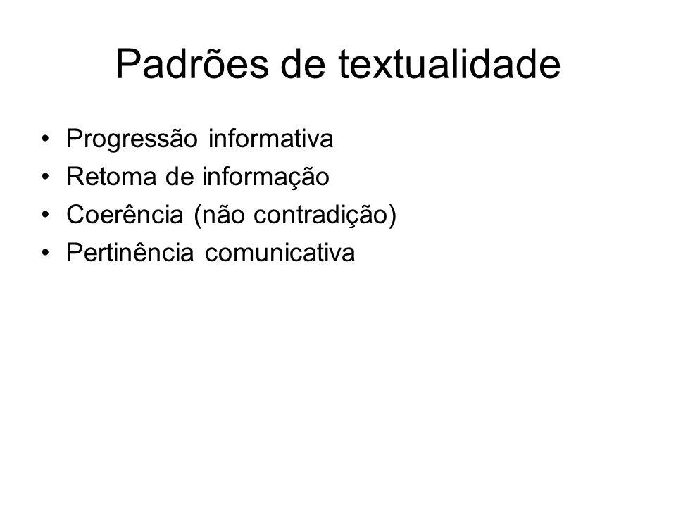 Padrões de textualidade Progressão informativa Retoma de informação Coerência (não contradição) Pertinência comunicativa