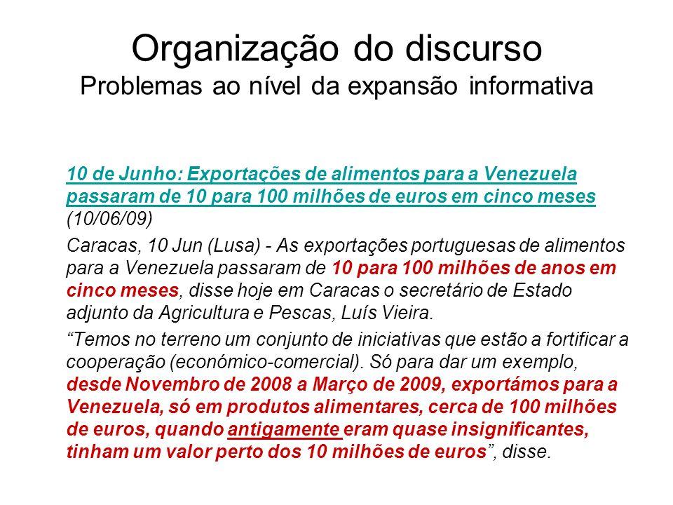 Organização do discurso Problemas ao nível da expansão informativa 10 de Junho: Exportações de alimentos para a Venezuela passaram de 10 para 100 milh