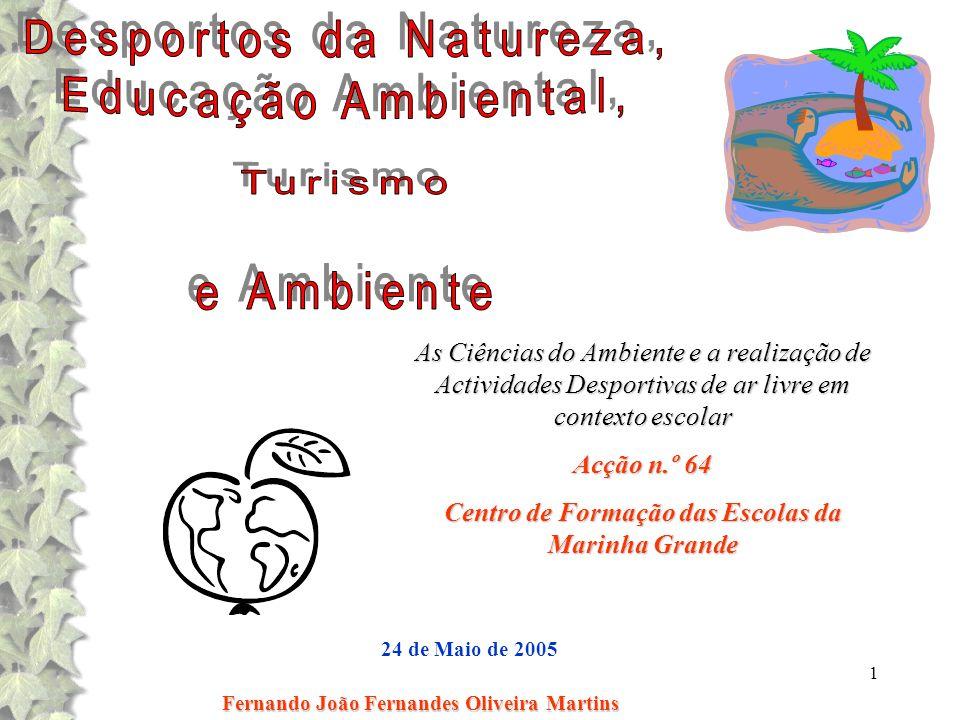1 Fernando João Fernandes Oliveira Martins 24 de Maio de 2005 As Ciências do Ambiente e a realização de Actividades Desportivas de ar livre em context