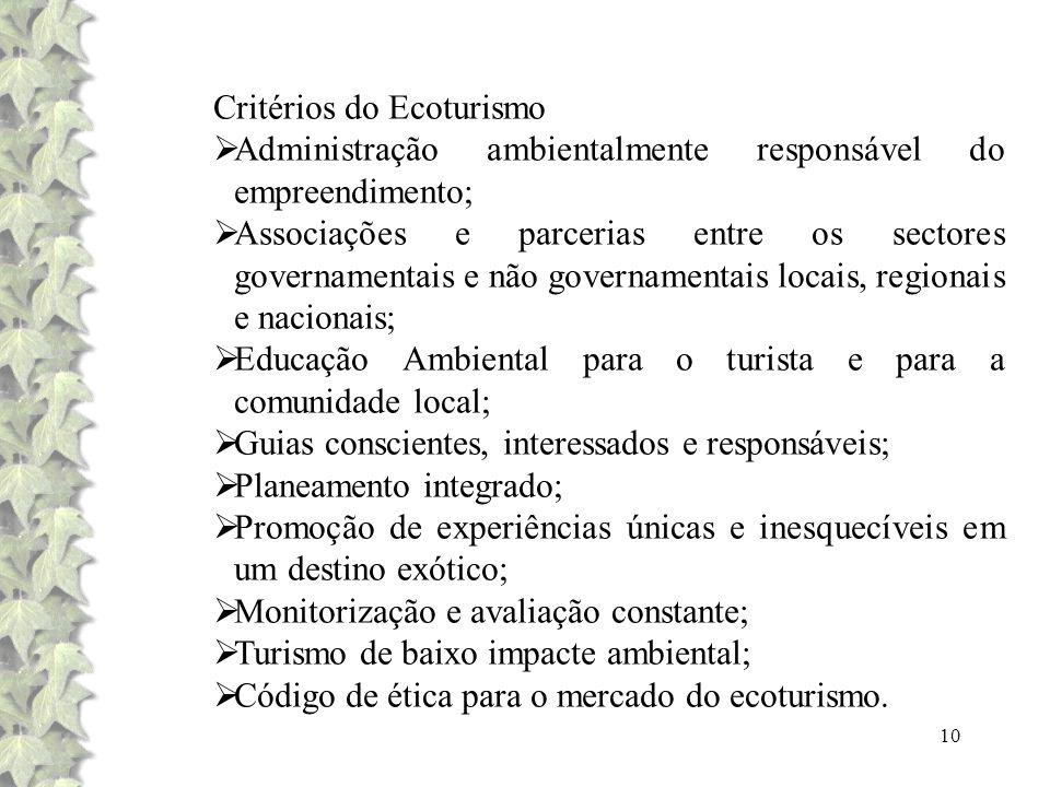 10 Critérios do Ecoturismo Administração ambientalmente responsável do empreendimento; Associações e parcerias entre os sectores governamentais e não
