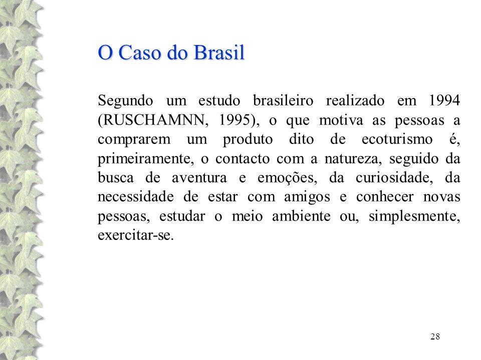 28 O Caso do Brasil Segundo um estudo brasileiro realizado em 1994 (RUSCHAMNN, 1995), o que motiva as pessoas a comprarem um produto dito de ecoturism
