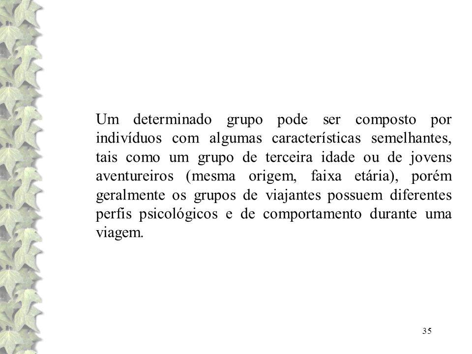 35 Um determinado grupo pode ser composto por indivíduos com algumas características semelhantes, tais como um grupo de terceira idade ou de jovens av