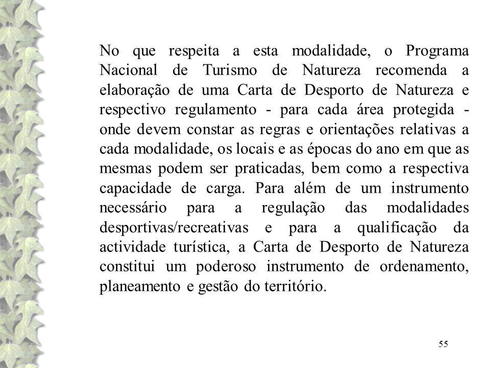 55 No que respeita a esta modalidade, o Programa Nacional de Turismo de Natureza recomenda a elaboração de uma Carta de Desporto de Natureza e respect