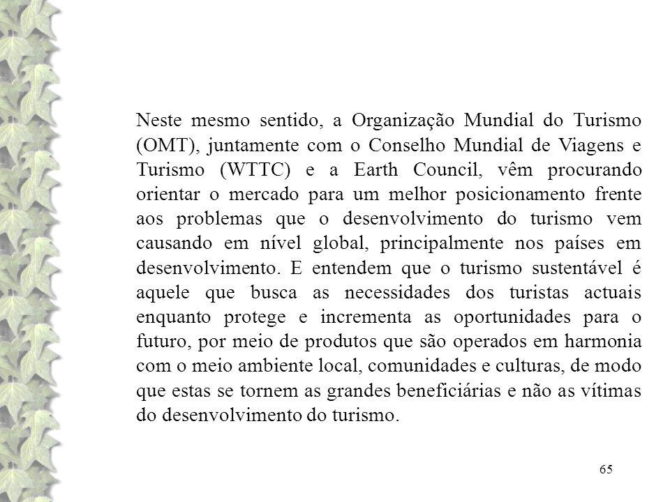 65 Neste mesmo sentido, a Organização Mundial do Turismo (OMT), juntamente com o Conselho Mundial de Viagens e Turismo (WTTC) e a Earth Council, vêm p