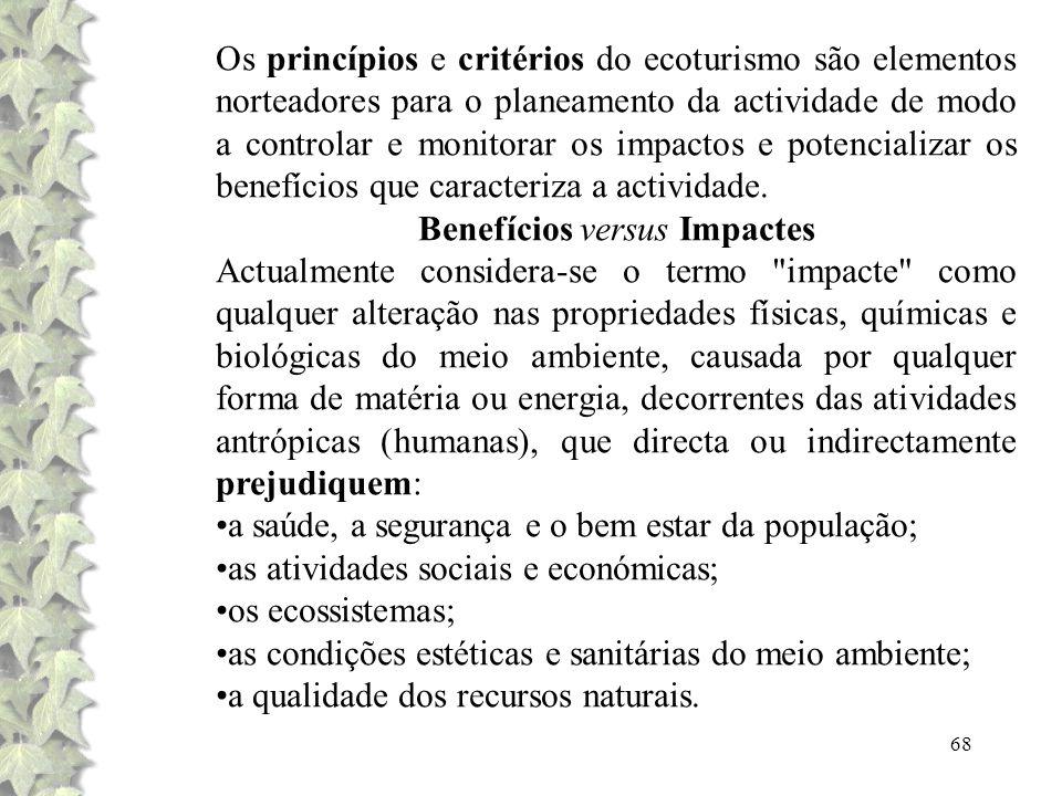 68 Os princípios e critérios do ecoturismo são elementos norteadores para o planeamento da actividade de modo a controlar e monitorar os impactos e po