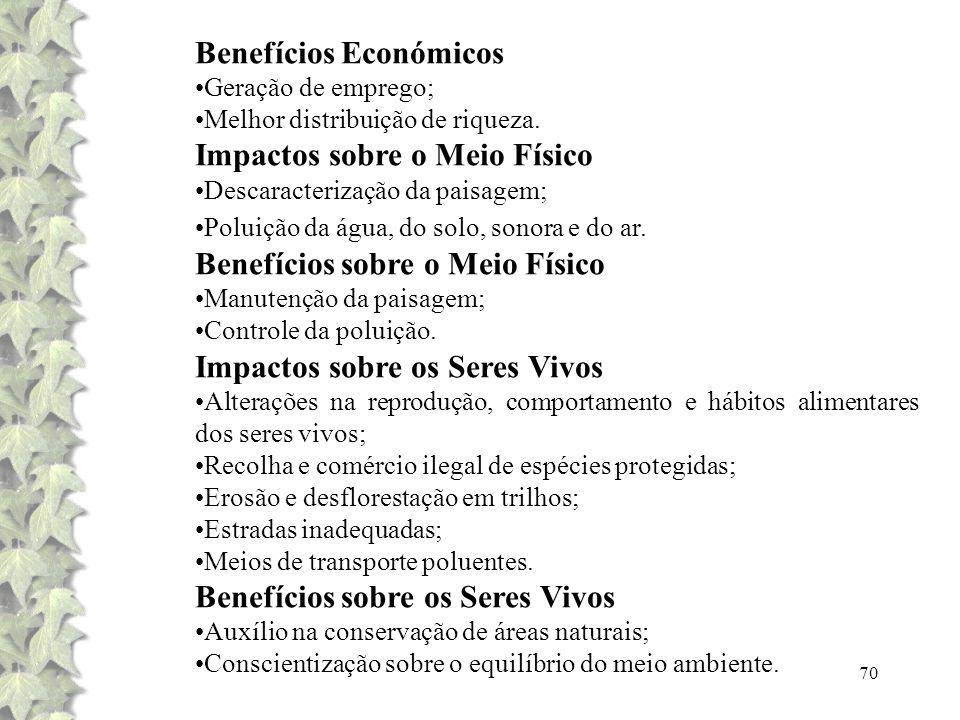 70 Benefícios Económicos Geração de emprego; Melhor distribuição de riqueza. Impactos sobre o Meio Físico Descaracterização da paisagem; Poluição da á