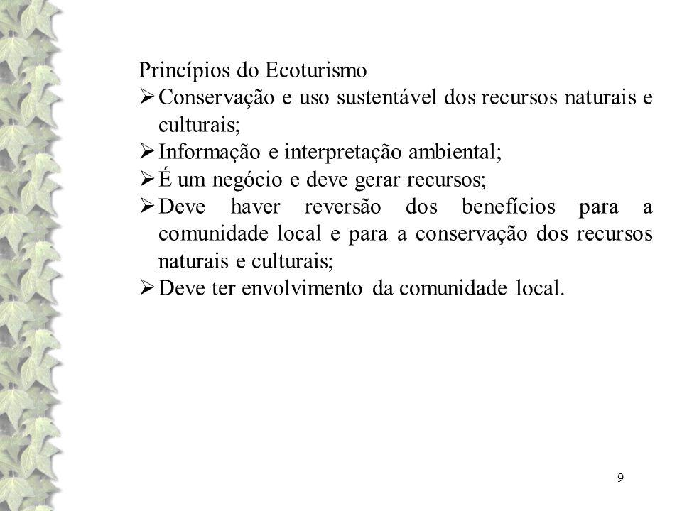 9 Princípios do Ecoturismo Conservação e uso sustentável dos recursos naturais e culturais; Informação e interpretação ambiental; É um negócio e deve