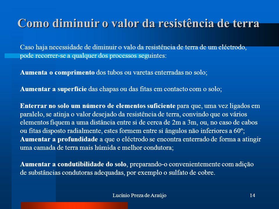 Lucínio Preza de Araújo14 Como diminuir o valor da resistência de terra Caso haja necessidade de diminuir o valo da resistência de terra de um eléctro