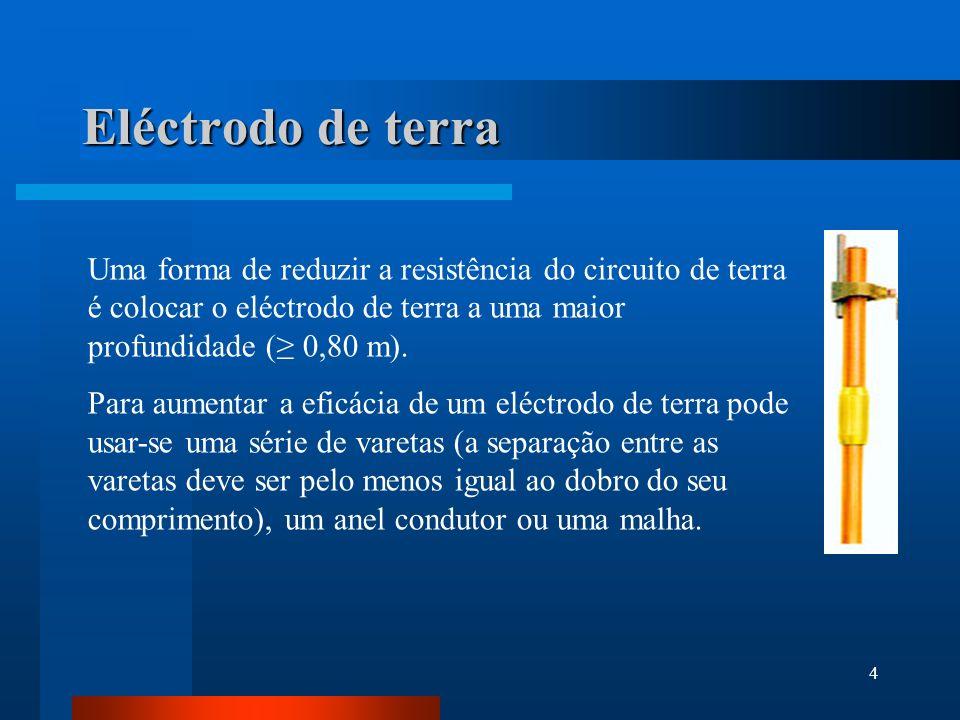 4 Eléctrodo de terra Uma forma de reduzir a resistência do circuito de terra é colocar o eléctrodo de terra a uma maior profundidade ( 0,80 m). Para a