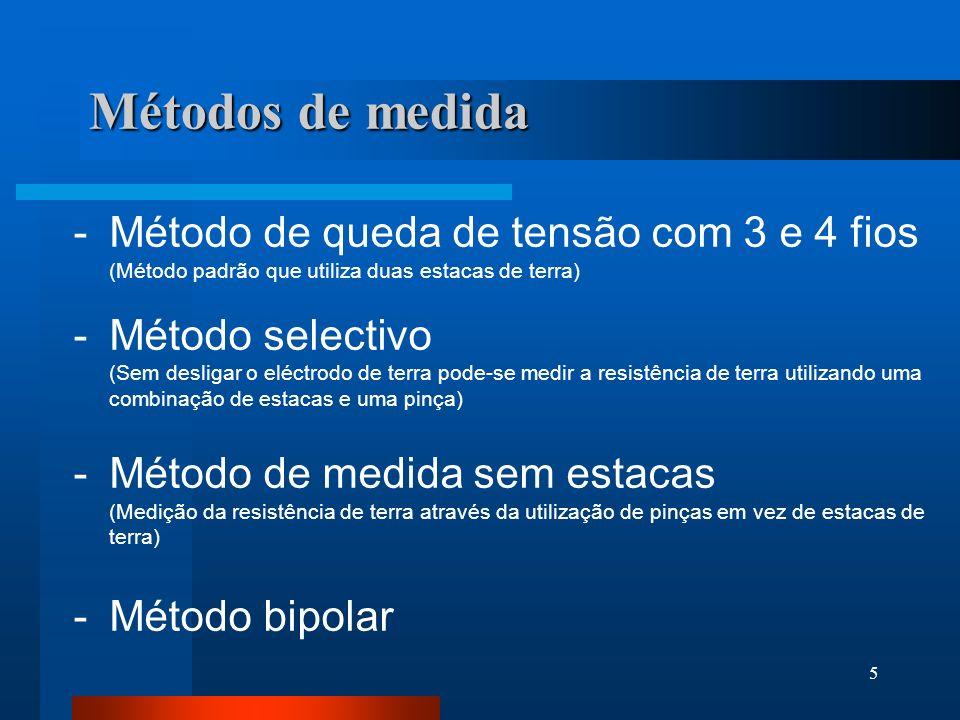 5 Métodos de medida -Método de queda de tensão com 3 e 4 fios (Método padrão que utiliza duas estacas de terra) -Método selectivo (Sem desligar o eléc
