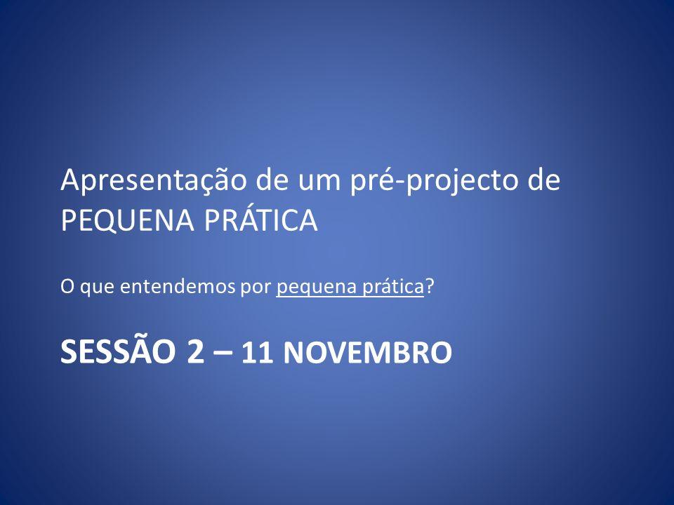 SESSÃO 2 – 11 NOVEMBRO Apresentação de um pré-projecto de PEQUENA PRÁTICA O que entendemos por pequena prática?