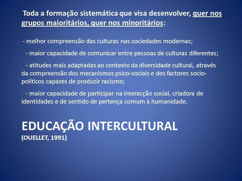 EDUCAÇÃO INTERCULTURAL (OUELLET, 1991) Toda a formação sistemática que visa desenvolver, quer nos grupos maioritários, quer nos minoritários: - melhor