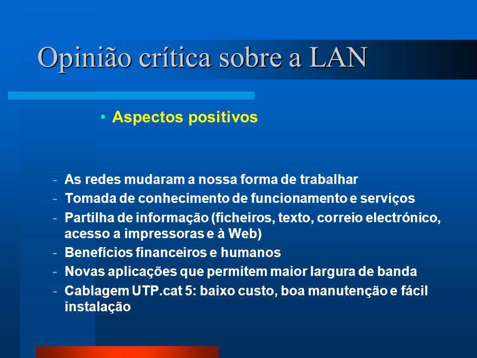 Opinião crítica sobre a LAN Aspectos positivos -As redes mudaram a nossa forma de trabalhar -Tomada de conhecimento de funcionamento e serviços -Partilha de informação (ficheiros, texto, correio electrónico, acesso a impressoras e à Web) -Benefícios financeiros e humanos -Novas aplicações que permitem maior largura de banda -Cablagem UTP.cat 5: baixo custo, boa manutenção e fácil instalação