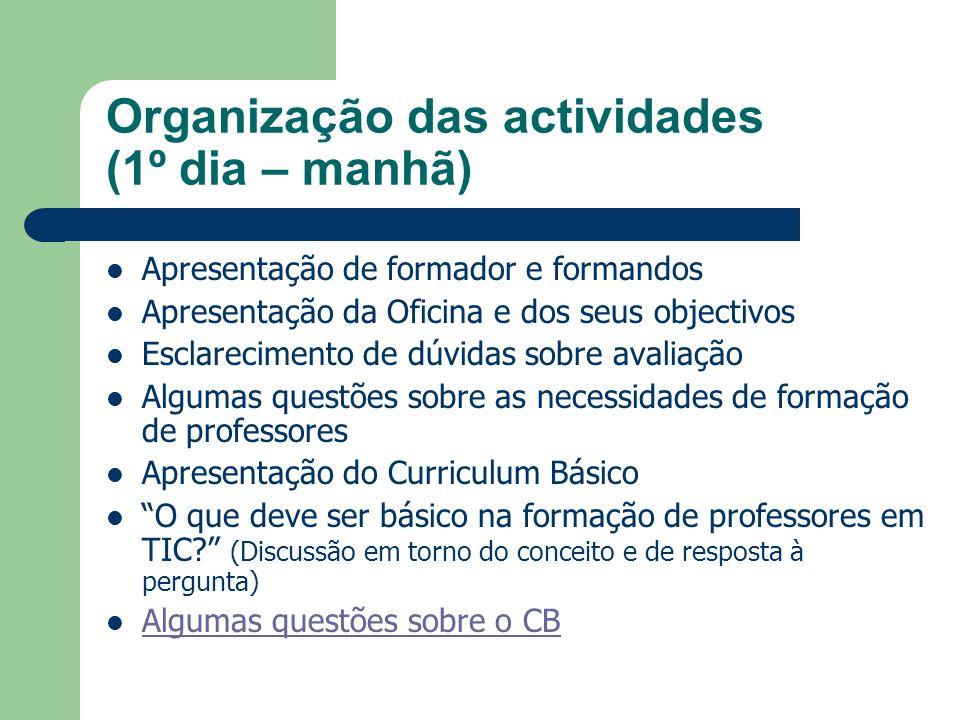 Organização das actividades (1º dia – manhã) Apresentação de formador e formandos Apresentação da Oficina e dos seus objectivos Esclarecimento de dúvi