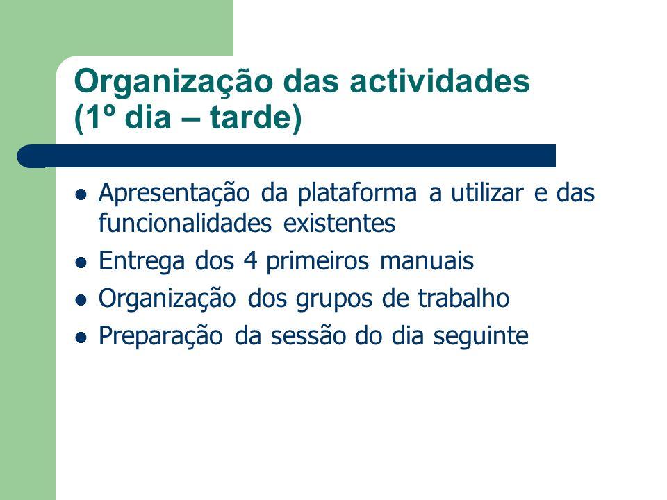Organização das actividades (1º dia – tarde) Apresentação da plataforma a utilizar e das funcionalidades existentes Entrega dos 4 primeiros manuais Or