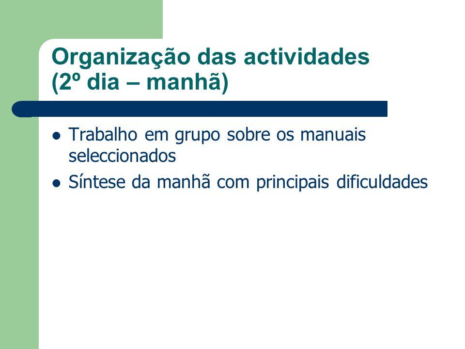 Organização das actividades (2º dia – manhã) Trabalho em grupo sobre os manuais seleccionados Síntese da manhã com principais dificuldades