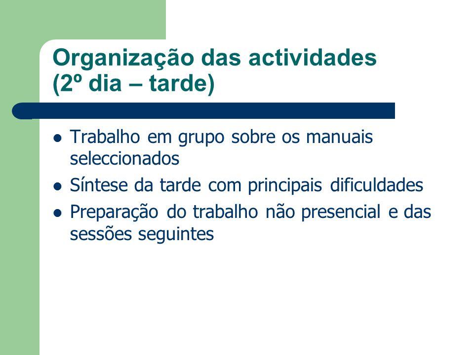 Organização das actividades (2º dia – tarde) Trabalho em grupo sobre os manuais seleccionados Síntese da tarde com principais dificuldades Preparação