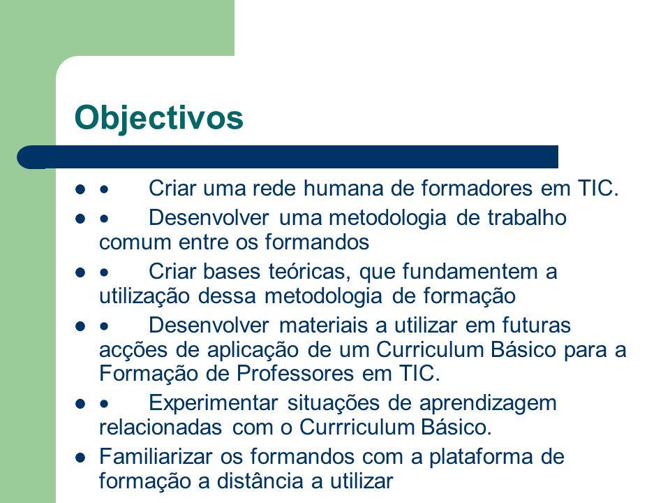 Objectivos Criar uma rede humana de formadores em TIC. Desenvolver uma metodologia de trabalho comum entre os formandos Criar bases teóricas, que fund