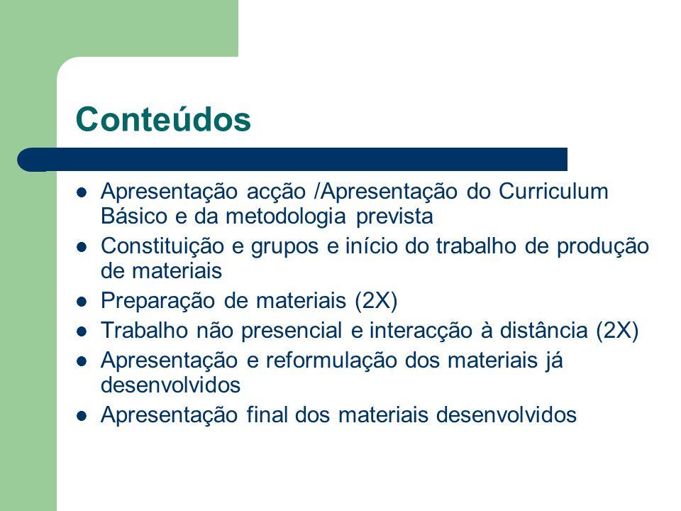 Conteúdos Apresentação acção /Apresentação do Curriculum Básico e da metodologia prevista Constituição e grupos e início do trabalho de produção de ma