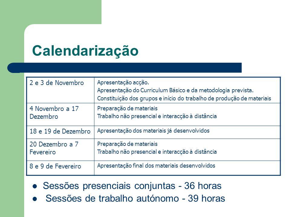 Calendarização Sessões presenciais conjuntas - 36 horas Sessões de trabalho autónomo - 39 horas 2 e 3 de Novembro Apresentação acção. Apresentação do