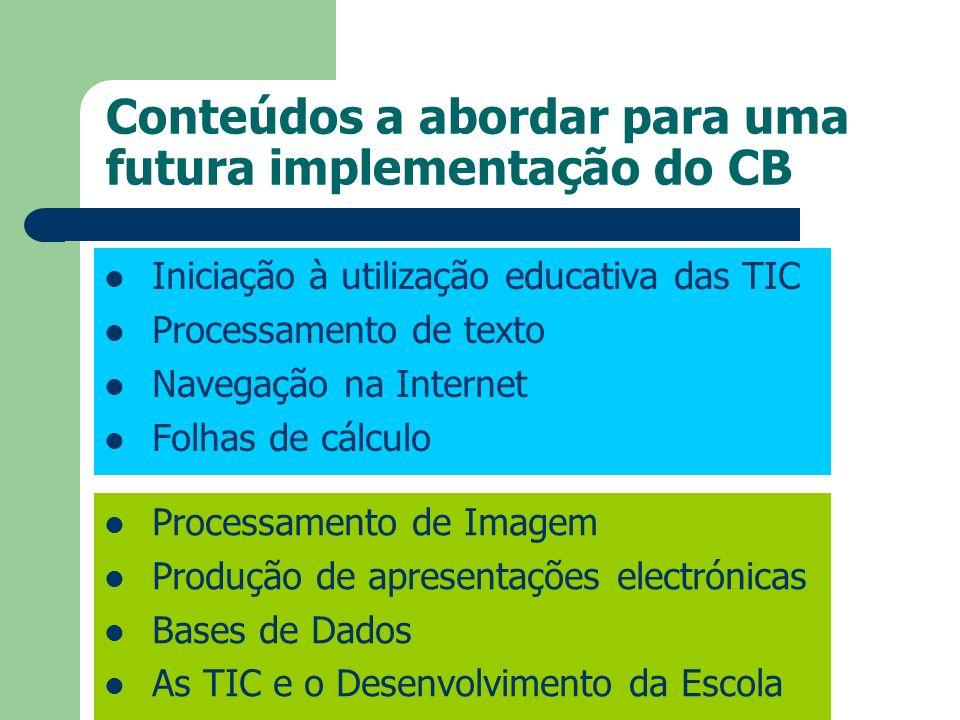 Conteúdos a abordar para uma futura implementação do CB Iniciação à utilização educativa das TIC Processamento de texto Navegação na Internet Folhas d