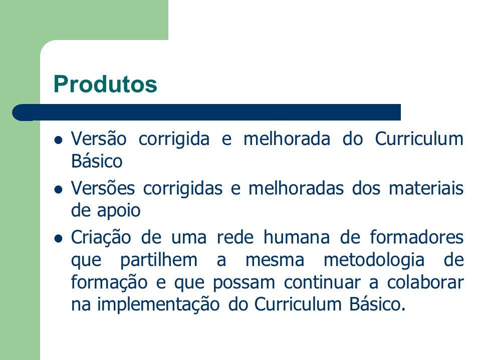 Produtos Versão corrigida e melhorada do Curriculum Básico Versões corrigidas e melhoradas dos materiais de apoio Criação de uma rede humana de formad