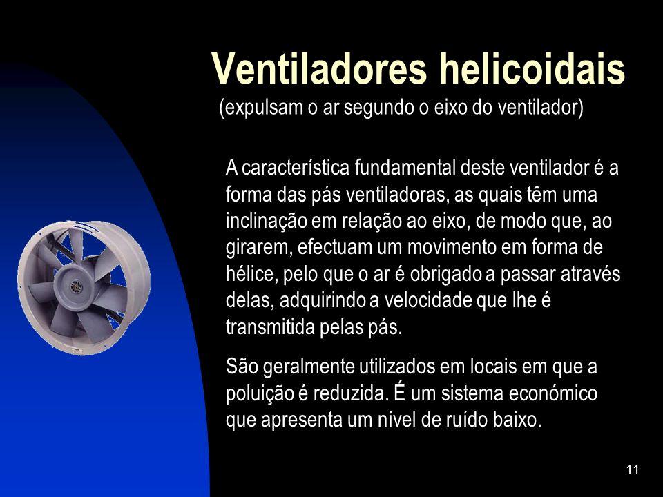 11 Ventiladores helicoidais (expulsam o ar segundo o eixo do ventilador) A característica fundamental deste ventilador é a forma das pás ventiladoras,