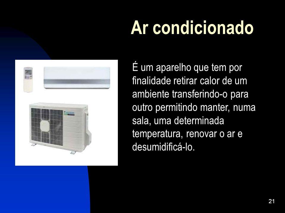 21 Ar condicionado É um aparelho que tem por finalidade retirar calor de um ambiente transferindo-o para outro permitindo manter, numa sala, uma deter
