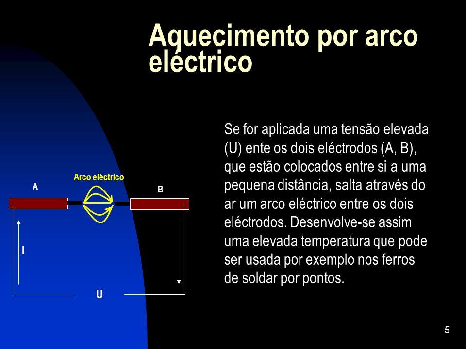 5 Aquecimento por arco eléctrico Se for aplicada uma tensão elevada (U) ente os dois eléctrodos (A, B), que estão colocados entre si a uma pequena dis