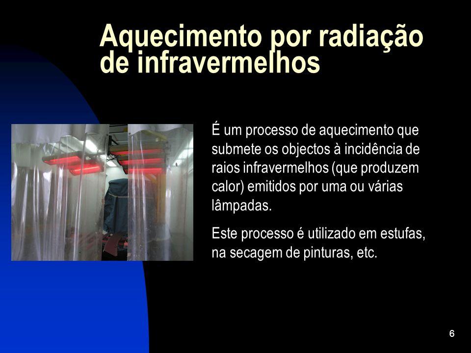 6 Aquecimento por radiação de infravermelhos É um processo de aquecimento que submete os objectos à incidência de raios infravermelhos (que produzem c