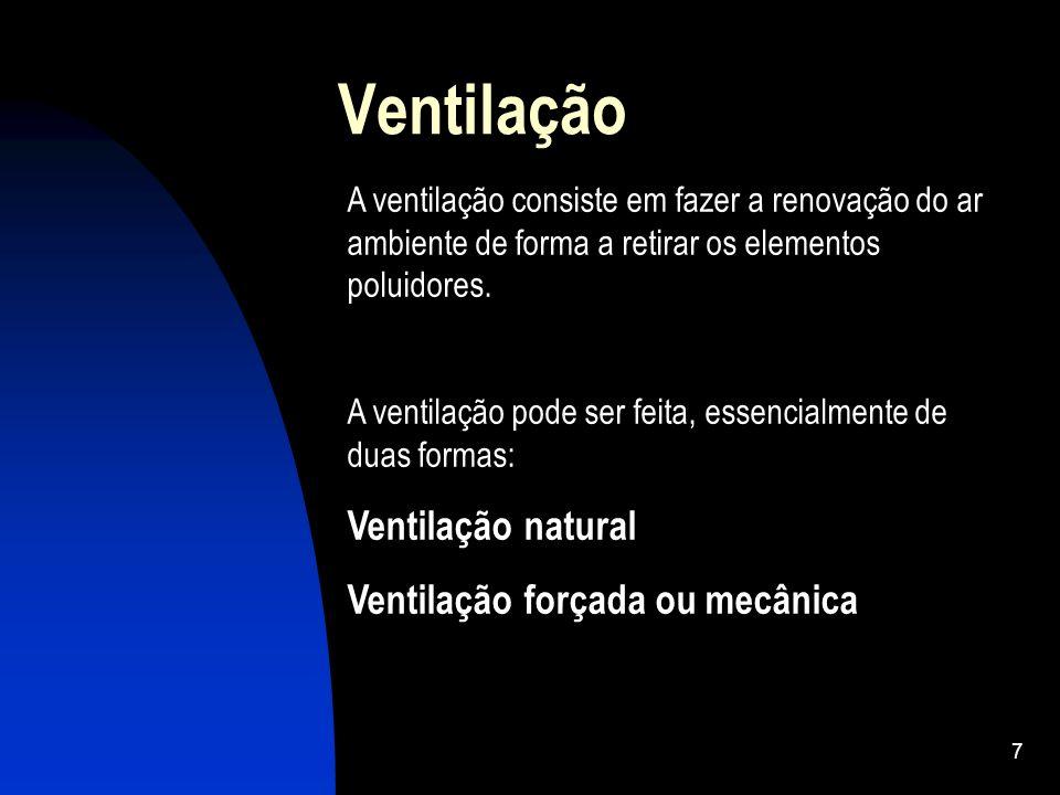 7 Ventilação A ventilação consiste em fazer a renovação do ar ambiente de forma a retirar os elementos poluidores. A ventilação pode ser feita, essenc