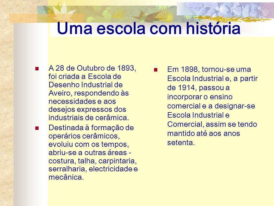 Uma escola com história A 28 de Outubro de 1893, foi criada a Escola de Desenho Industrial de Aveiro, respondendo às necessidades e aos desejos expres