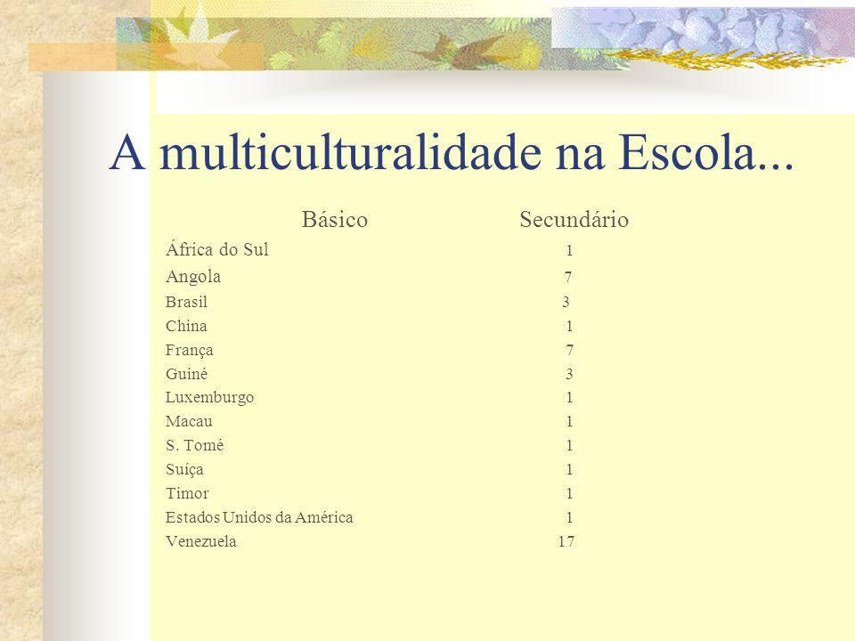 A multiculturalidade na Escola... Básico Secundário África do Sul 1 Angola 7 Brasil 3 China 1 França 7 Guiné 3 Luxemburgo 1 Macau 1 S. Tomé 1 Suíça 1