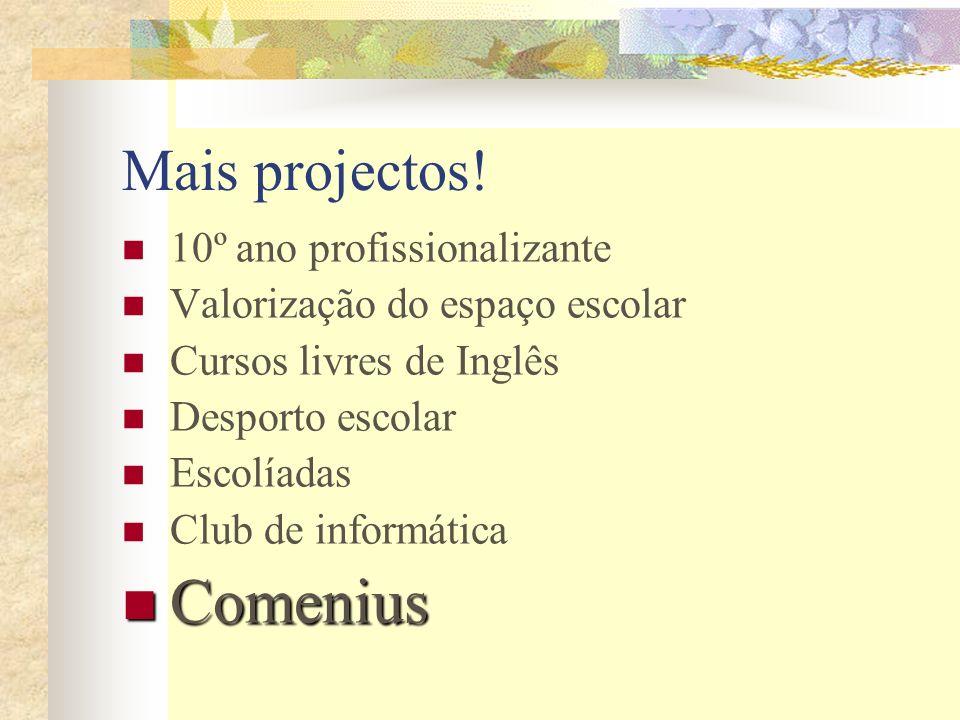 Mais projectos! 10º ano profissionalizante Valorização do espaço escolar Cursos livres de Inglês Desporto escolar Escolíadas Club de informática Comen