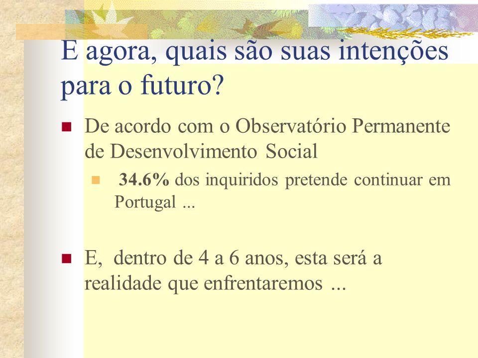 E agora, quais são suas intenções para o futuro? De acordo com o Observatório Permanente de Desenvolvimento Social 34.6% dos inquiridos pretende conti