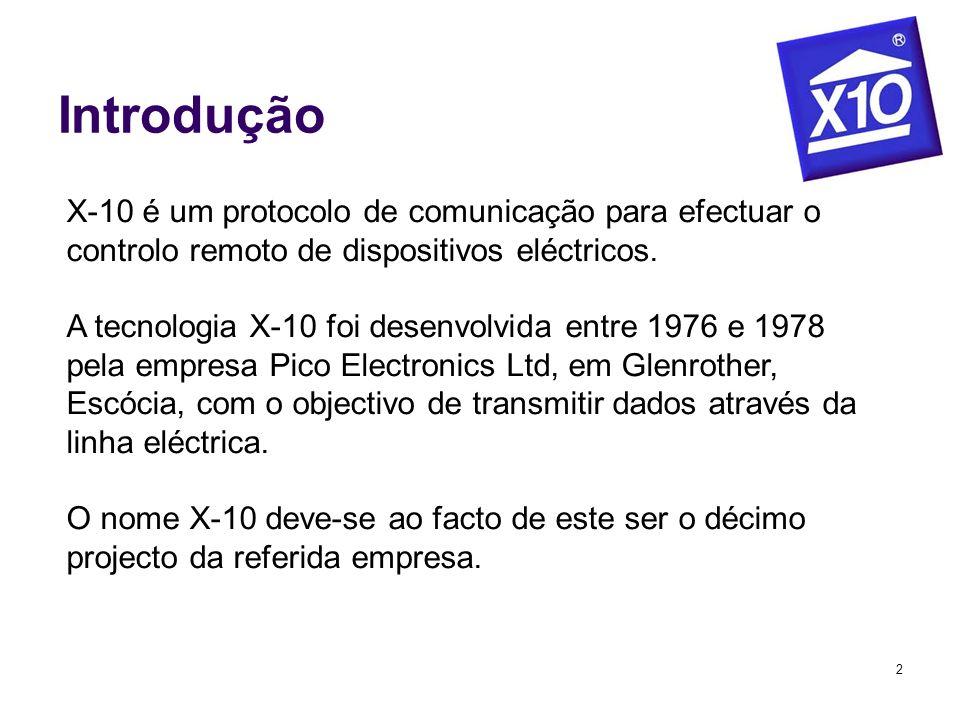 2 Introdução X-10 é um protocolo de comunicação para efectuar o controlo remoto de dispositivos eléctricos. A tecnologia X-10 foi desenvolvida entre 1