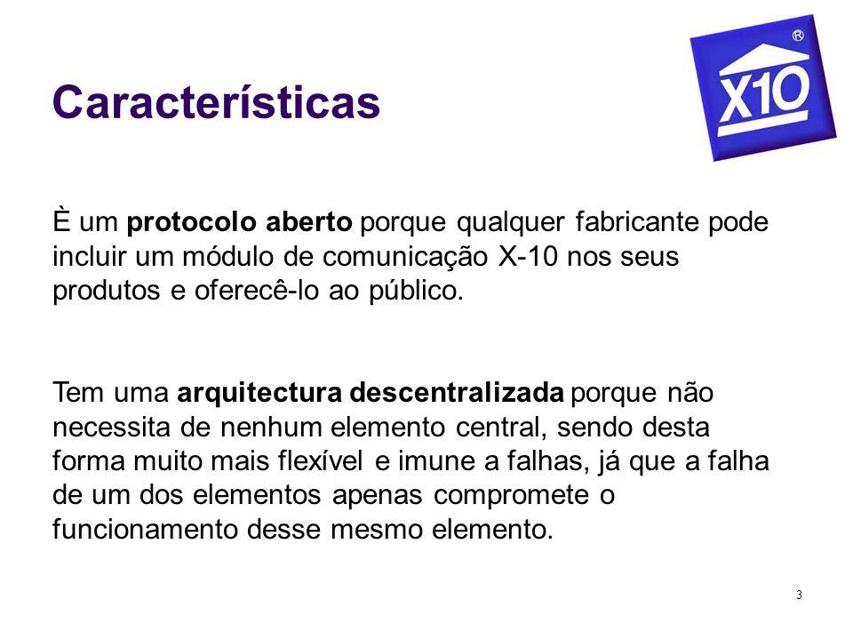 3 Características È um protocolo aberto porque qualquer fabricante pode incluir um módulo de comunicação X-10 nos seus produtos e oferecê-lo ao públic