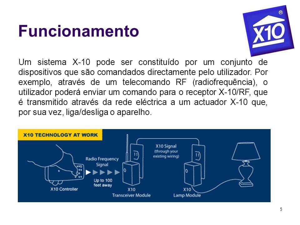 5 Funcionamento Um sistema X-10 pode ser constituído por um conjunto de dispositivos que são comandados directamente pelo utilizador. Por exemplo, atr