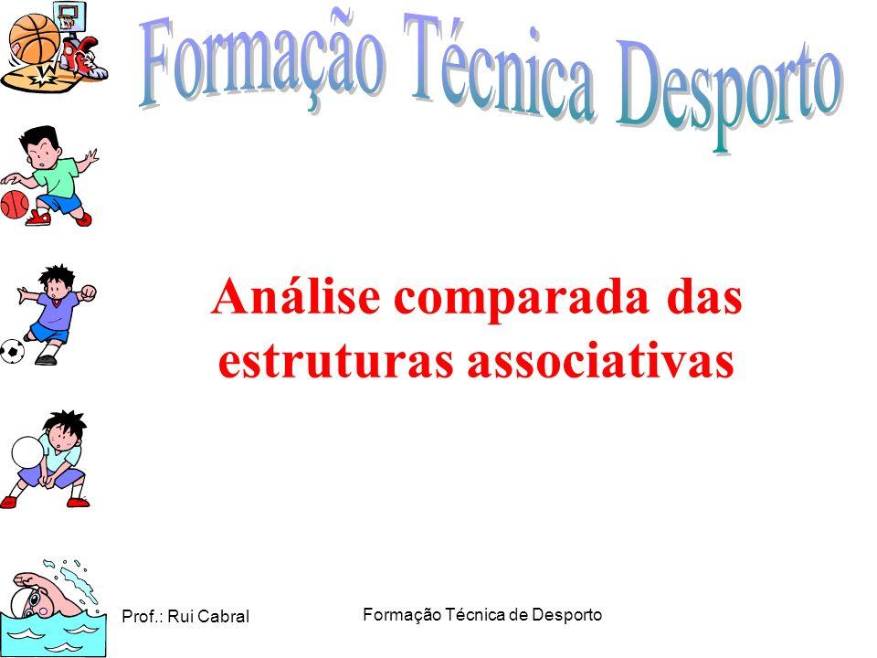 Prof.: Rui Cabral Formação Técnica de Desporto Análise comparada das estruturas associativas