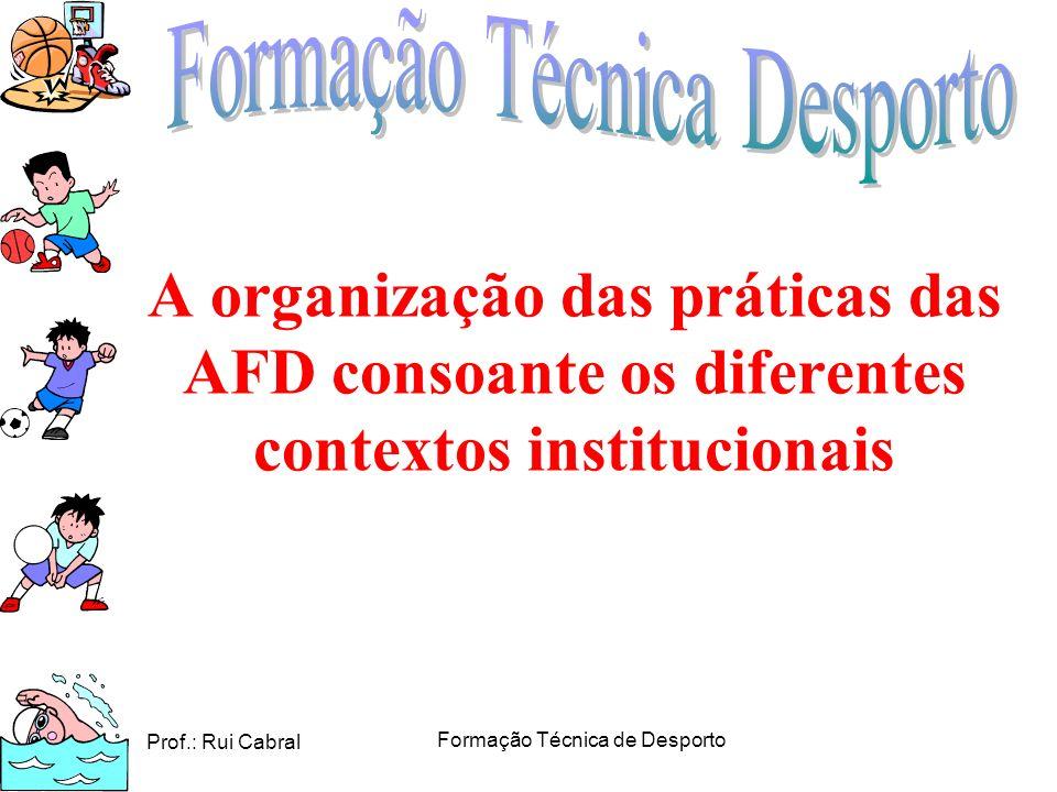 Prof.: Rui Cabral Formação Técnica de Desporto A organização das práticas das AFD consoante os diferentes contextos institucionais