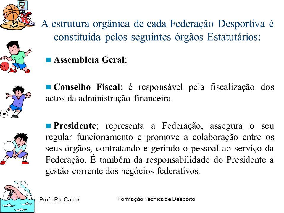 Prof.: Rui Cabral Formação Técnica de Desporto A estrutura orgânica de cada Federação Desportiva é constituída pelos seguintes órgãos Estatutários: As